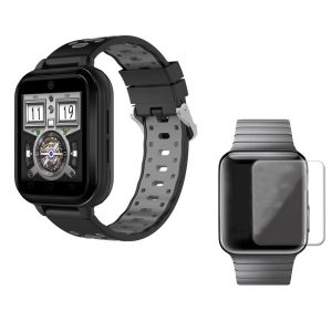 FINNA Q1 Pro Svart Grå 4G 1 + 8G GPS WIFI IP67 Vattentät Smart Watch + 40mm HD Tempererad Glas Watch Screen Protector