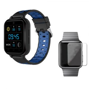 FINNA Q1 Pro Svart Blå 4G 1 + 8G GPS WIFI IP67 Vattentät Smart Watch + 40mm HD Tempererad Glas Watch Screen Protector