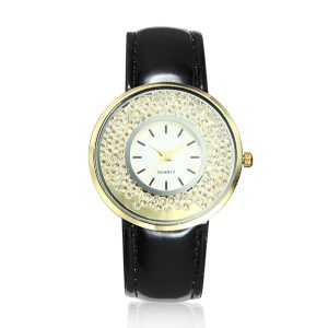 Fashion Casual Crystal Quicksand PU Leather Band Quartz Women Watch