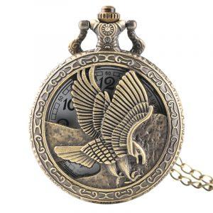 DEFFRUN Vintage Eagle Wings Pattern Quartz Pocket Watch