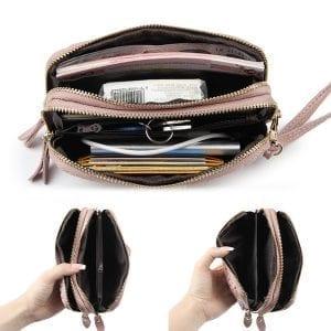 Kvinnor sten mönster kopplingar väskor dubbel blixtlås lång plånbok korthållare 5,5 '' telefonväska för Iphone