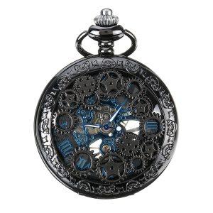 DEFFRUN Elegant Blue Needle Mechanical Pocket Watch