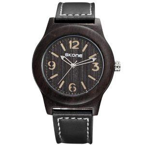 SKONE 3842 Mode Herrar Quartz Watch Casual Läderrem Träurur