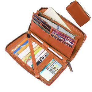 Brenice RFID Retro äkta kvinnor handväska lång plånbok