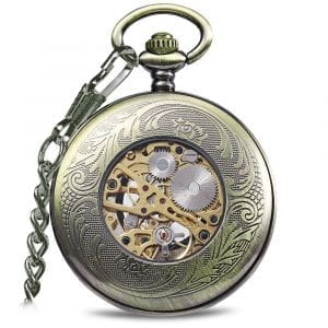 JIJIA JX015 Blue Gem Striped Mechanical Pocket Watch