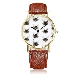 Casual Cute Cats Wear Glassess PU Leather Band Quartz Women Wrist Watch