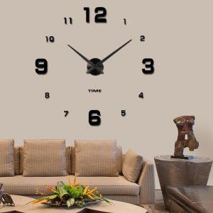 Modern Mute DIY Frameless Stor väggklocka 3d spegel klistermärke Metal Big Watches Home Office Decorations