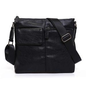 Män med stor kapacitet PU Business Crossbody Bag Shoulder Messenger