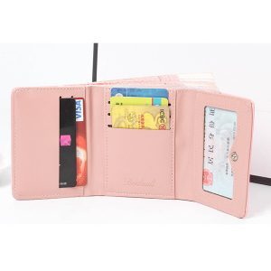 3 Fold High Heels Hasp Short Wallet Candy Color Purse 5 Card Holder Coin Bags