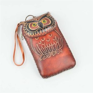 Äkta läder Cartoon Owl 5,5-tums telefonväska koppling myntväskor väska