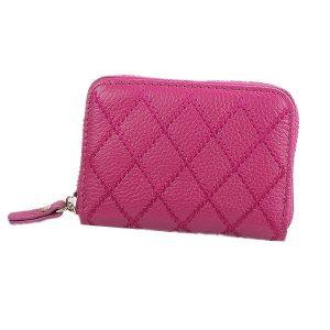 Genuine Leather  Plaid Short Design Zipper Women Wallet 10 Slots RFID Wallet Card Holder