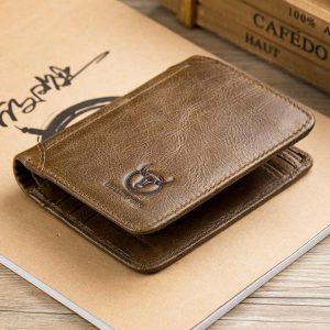 Bullcaption äkta läder 3 fällbar kort plånbok