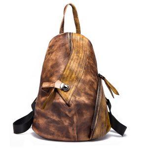 Brenice Cowhide Women's Backpack Retro Spänne Kontrast Färgbokväska