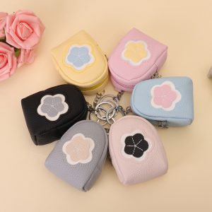 Kvinnors kvalitet PU läder söt blommönster byte plånbok mynt väska korthållare