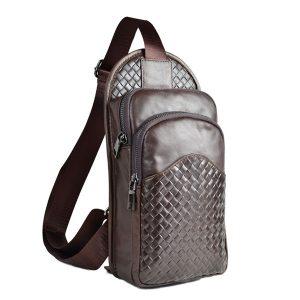 Äkta läder crossbody väska kohud läder bröstväska axelväska för män