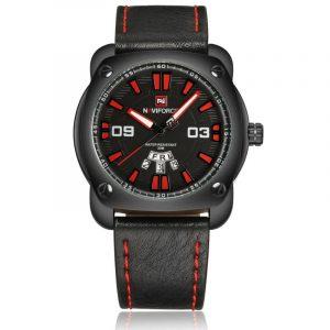 NAVIFORCE 9096 Fashion Men Quartz Watch Date Week Display Leather Strap Watch