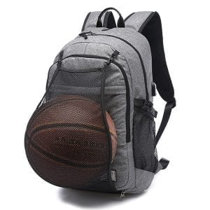 "Men Canvas Multifunction Sport Bag Casual Rucksack 17"" Basketball Backpack with USB Charging Port"