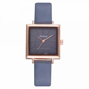 Simple Square Dial PU Strap Women Quartz Watch