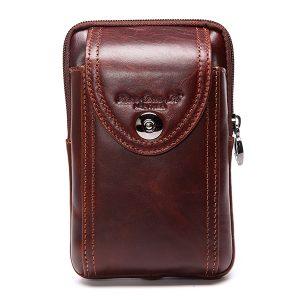 Herrväska i äkta läder Business Crossbody Bag Mobilväska för 6 tum telefoner