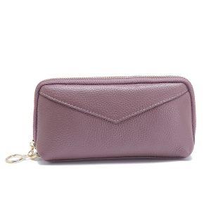 Kvinnor äkta läder Pure Color Clutch Bag Plånbok