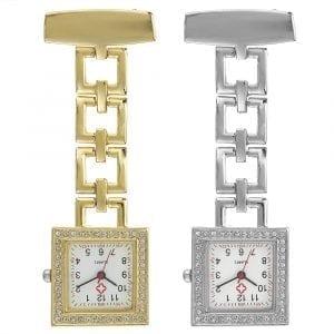 Crystal Square Nurse Watch Rustfritt stål kvartsur