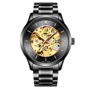 IK COLORING K004 Business Style Herrklocka Rose Golden Auto Mechanical Armbandsur