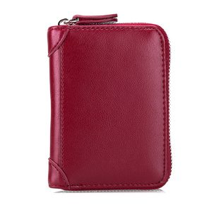 Large Capacity RFID Genuine Leather Men Women Casual Zipper Creddit Card Holder