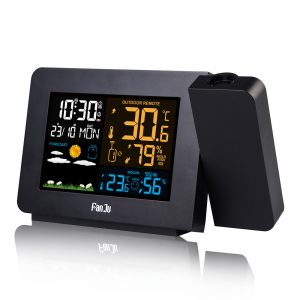FanJu FJ3391 Weather Station Alarm Clock with Projection Weather Monitor Calendar Backlight Desk Clock