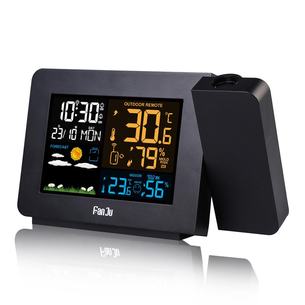 FanJu FJ3391 Weather Station Alarm Clock with Projection Weather Monitor Calendar Backlight Desk Clock Fyndes.se