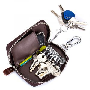 Men Women Genuine Leather Car Key Case Key Holder Waist Bag