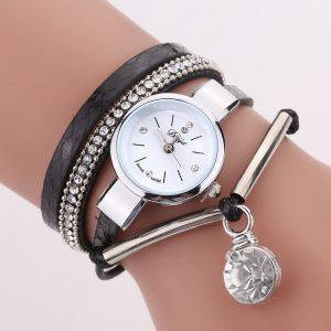 DUOYA D254 Crystal Pendant Women Retro Style Bracelet Watch