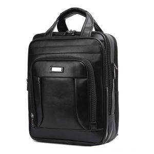 Män Svart Business Ryggsäck 3 Fack Laptop Laptop Bag Multifunction Portfölj
