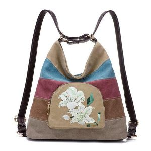 Brenice Women's National Lotus Multifunctional Canvas Shoulder Crossbody Bag Randig ryggsäck