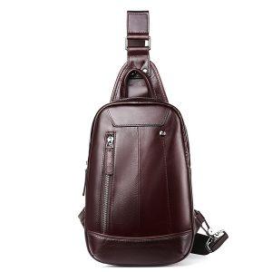 Män äkta läder Minimalist Retro bröstväska Casual resor Business Crossbody väska