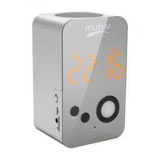 2 In 1 Alarm Clock LED Mirror Wireless bluetooth Speaker HIFI Bass TF Card Hands Free Speaker