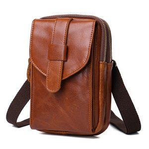 Äkta läder bärbar stor skärm mobiltelefon väska midja väska crossbody väska för män