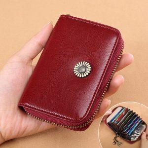 Kvinnor Korthållare Handväska äkta läder Minimalistisk mode 11 kortslutningar dragkedja plånbok