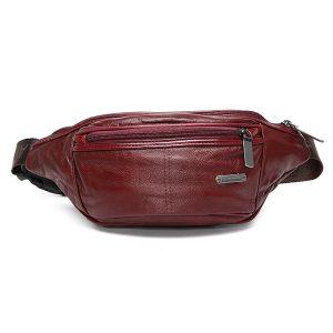 Genuine Leather Multi-function Crossbody Bag Men Vintage Moon Shape Chest Bag