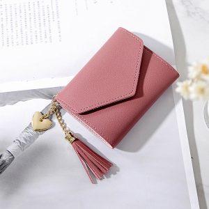 Kvinnor Faux Leather Tassel Mini Short 6 Card Slot Plånbok