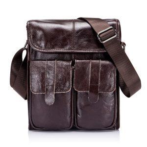 Ekphero® Genuine Leather Men Bags Vintage Retro Messenger Bag
