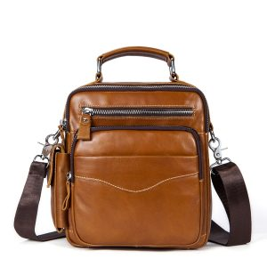 Casual Genuine Leather Business Crossbody Bag For Men