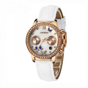 SINOBI 6556 Crystal Butterfly Women's Leather Quartz Watch
