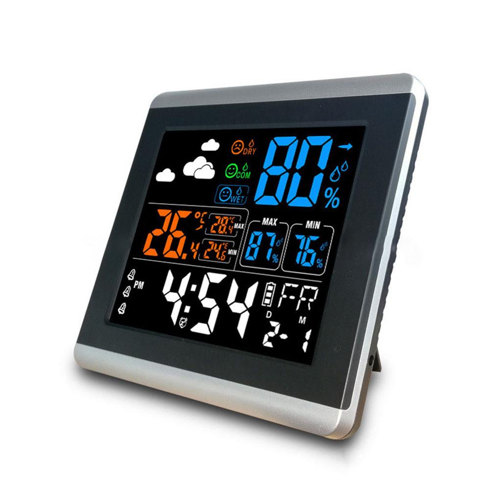 Loskii DC 005 Digital trådlös färgglad skärmklocka USB Bakgrundsbelyst Väderstation Termometer Hygrometer Väckarklocka Temperaturmätare med kalender