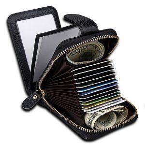 Kvinnor äkta läder korthållare män bärbara korta plånböcker handväska blixtlås fall