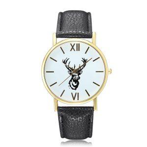 Cute Lovely Deer Pattern PU Leather Band Analog Quartz Women Wrist Watch