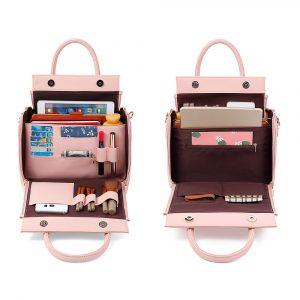 Brenice Women Solid Three Layers Handbag Cosmetic Bag