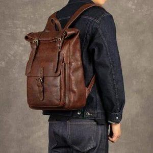Ekphero Män Kvinnor PU Läder Vintage Stor Captial ryggsäck
