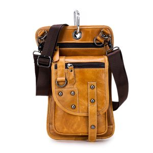 Ekphero® Män Vintage midjeväska Travel Fanny Pack Bälte Loops Hip Bum Bag