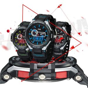 TVG 801 Fashion Men Digital Watch Dual Display Rubber Strap Sport Watch