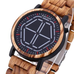 BOBO BIRD Creative Night Vision Wood Quartz Watch